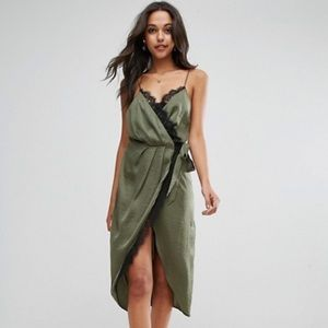 NWT ASOS satin lace wrap dress